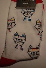 """Cat Lover Socks """"CAT SPECTACLE""""  #61792  White"""