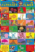LEARN THE ALPHABET WITH ELMER - EDUCATIONAL CHILDREN POSTER / PRINT