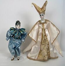 Vtg Porcelain Clown Dolls w Stands Jester Pierrot Tear Drop with Stands Lot of 2