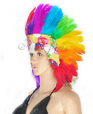 Showgirl Rainbow feather sequins las vegas dancer headpiece headdress