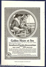 1916 SOUTHER PACIFIC STEAMSHIPS advertisement, couple leaning on railing