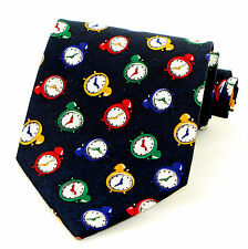 Wake Up! Mens Necktie Alarm Clock Time Hands Clocks Novelty Blue Gift Tie New