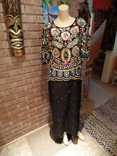 Women's Vintage Scala Black Silk Floral Deco Beads Sequins Full Length Dress 2X