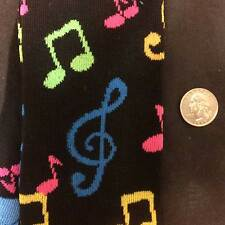 Funky Black Multi-color MUSICAL NOTES KNEE SOCKS Musician Music Lolita Novelty