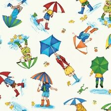 PUDDLE JUMPERS RAINY DAY SCENIC UMBRELLAS FROGS DUCKS GUMBOOTS FABRIC