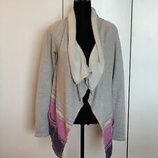 Billabong Fly Away Sweater Gray with Stripes and Pockets Size M
