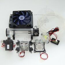 Water Cooling Kit 120 Radiator CPU GPU Block Pump Reservoir Tubing Blue LED