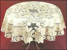 "Tablecloth round lace cream/dark gold NEW Ø120 (47"") fantastic Christmas gift"