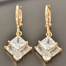 Womens lucky Yellow Gold Filled square Clear Crystal  Long Dangle Earrings NEW