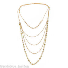 Elegant Gold Tone Beaded Long Multi Row Layered Fashion Necklace