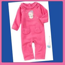 NWT PREEMIE Gymboree SNOW FRIENDS 1pc Long Sleeve HOT PINK FLEECE ROMPER snowman