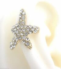 Starfish Crystal Ear Cuff Earring Gold Plated No Piercing New Women