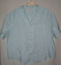 Turquoise Striped Short Sleeve Button Blouse Lady Shapely Plus Size 3X 22 24