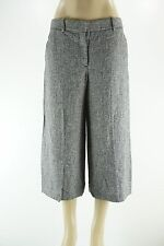 """THEORY Black/White """"Halientra"""" Linen-crepe Culottes Crop Pants NWT 8"""