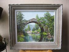 Superbe ancien tableau Corse Pont de Sartène huile signée Rocca Serra Propriano
