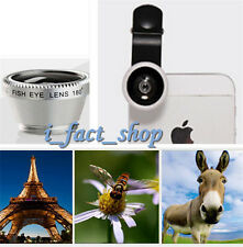 Silver 3In1 Lens Clip Kit Macro Wide Angle Fish Eye Set for iPhone Android Phone
