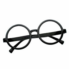 50s-80s Retro Round Black Clear Lens Hippie Nerd Hipster Glasses Spectacles NEW