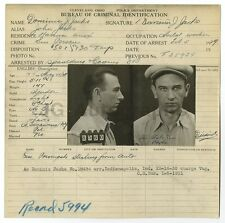 Police Booking Sheet - Dominic J. Jacks - Cleveland, Ohio Police Department 1929