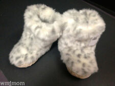 SMALL Pottery Barn Kids Snow Leopard FUR SLIPPER BOOT Pajamas Christmas GIFT New