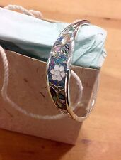 Mexican Bracelet Sterling  Silver plated, Mother Of Pearl resin Inlay floral