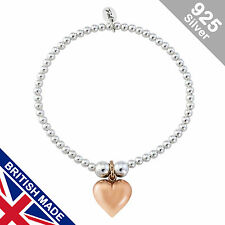 Trink Heart of Gold Sterling Silver & Gold Plated Beaded Charm Bracelet Elastic