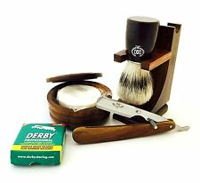 PAKKA WOOD CUT THROAT STRAIGHT RAZOR SHAVING SET, STAND, BRUSH, BLADES, SOAP F5