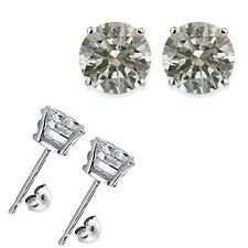 4 Carat 8MM Round White CZ 925 Silver White Gold Plated Stud Earrings