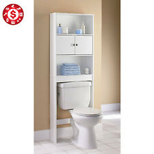 OVER THE TOILET Storage Cabinet Bathroom Organizer Space Saver Wood Shelf White