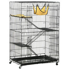Large 2 Door Pet Cage Folding Cat Rabbit Wire Crate Kennel w/Tray & Hammock