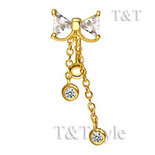 TTstyle 14K Gold GP Reverse Clear CZ BOW Dangle Belly Button Ring