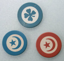 3 Vintage Clay Poker Chips: 2 Paranoid Inlaid Star & Crescent; & 1 4-leaf-clover
