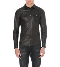 NWT Diesel~|sz Sm Leather Sonora Black Western Men Shirt|~dsquared saint laurent