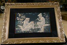 "RARE ART NOUVEAU Antique c1898 W S Coleman impression sur soie - ""Moonlight melody"""