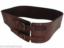 Regent Belt Company Wide Brown Leather Rivet Studded Belt Made in UK 20 New 38