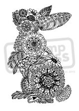 A7 'Floral Bunny' Unmounted Rubber Stamp (SP004521)