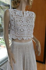 Vintage all Hand Made Crochet Top or Cami 100% Cotton fit S, M, White