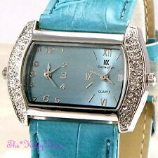 Designer Turquoise Silver Ladies Dual Dial Twin Time Watch w/ Swarovski Crystals