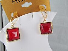 NWT MONET GOLD & RED BAUBLE DANGLE EARRINGS, Stunning, Signed