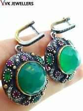 Hurrem sultan Turkish Jewelry 925Sterling Silver Handmade Emerald Earrings E3093