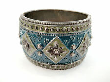 "Antique Bronze Look Blue Color Enamel 1 3/4""Wide Hinged Chunky Bangle Bracelets"