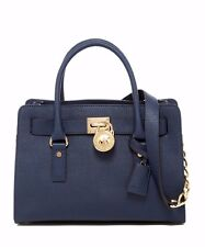 Michael Kors Hamilton Navy Blue Saffiano Leather East West Medium Satchel Bag