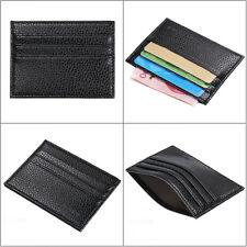 Mens Slim Credit Card Holder PU Leather Wallet Coin Pocket Money Bag Purse Black