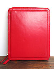 SENA RED HANDCRAFTED FULL GRAIN GENUINE LEATHER TABLET IPAD ZIP CASE FOLDER 10X8