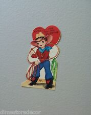 Vtg Valentine Card 50's Cowboy Boots Lariat Lasso Rope I've Roped You UNUSED