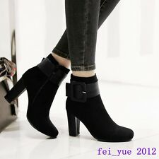 Chic Womens Brtish High Heels Faux Suede Buckle Ankle Boots Side Zip Plus Size