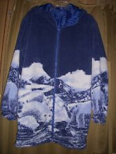 1X  Jacket Fleece Reversible Polar Bear Blue Pkts Hoodie Zip Long Length New 1X