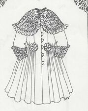 "13-14""ANTIQUE DOLL RIBBON&ROSETTE COAT-DRESS PATTERN/FRENCH JUMEAU-GERMAN CHILD"