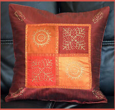 Burgundy Red SILK GOLD BLOCK PRINTING PILLOW COVER/CUSHION COVER FROM INDIA!!