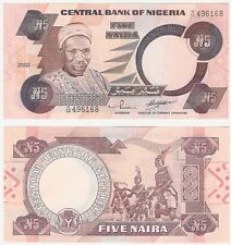 Nigeria 5 Naira 2002 P-24g.2 UNC Uncirculated banknote Neuf-músicos tribal