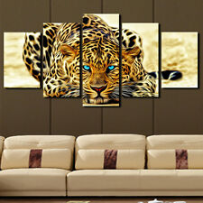 5p Abstract Leopards Home Decor Canvas Picture Art HD Print Painting Unframed